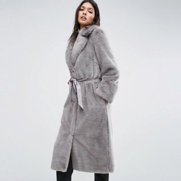 829d688f27190 ASOS Jackets   Blazers - ASOS Faux Fur Coat with Oversized Collar and Belt